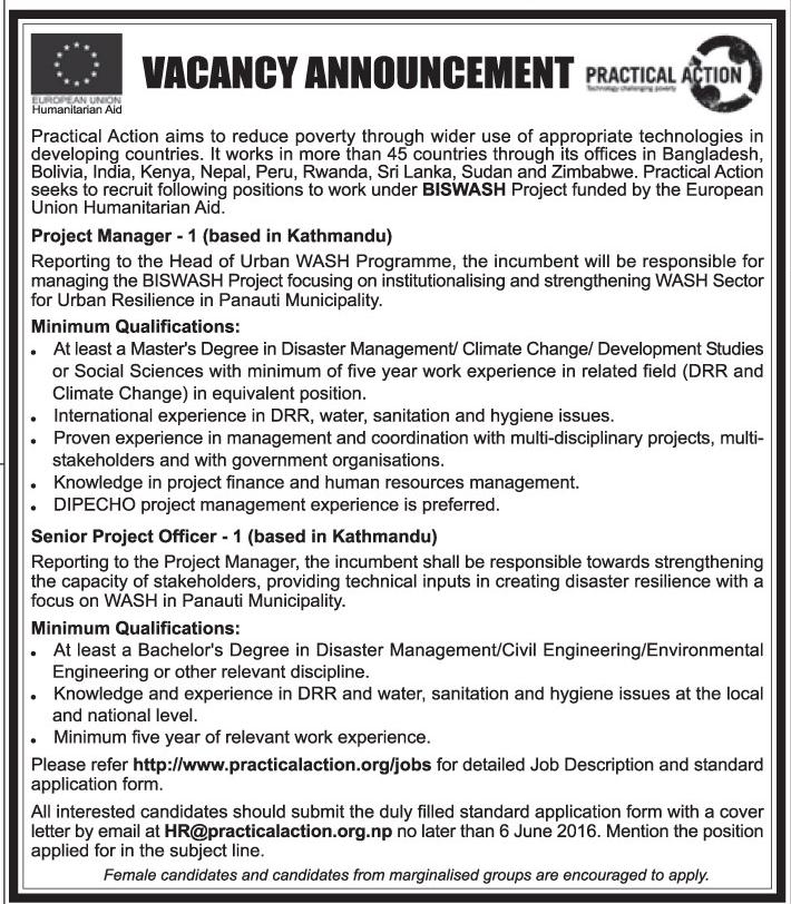 CivilEnvironmental Engineer Job Vacancy  Practical Action
