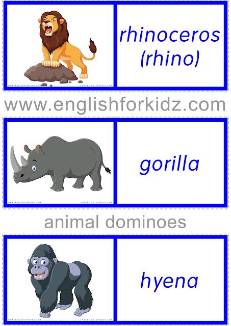 Printable African animals dominoes - English ESL worksheets