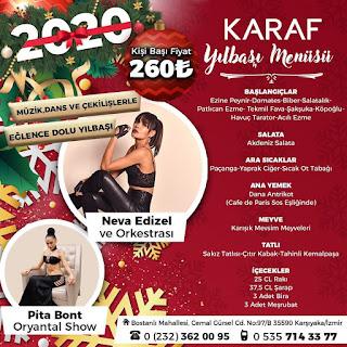 Karaf Meyhane İzmir Yılbaşı Programı 2020 Menüsü