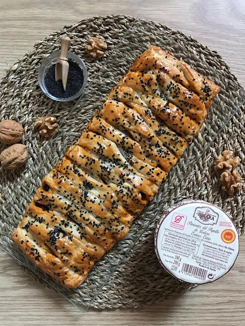 trenza de hojaldre rellena de morcilla y pimientos del piquillo receta