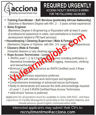 Acciona Facility Services Jobs 2020 In Qatar For Training Coordinator, Sales Engineer, Housekeeping, Cleaner, Technician Latest