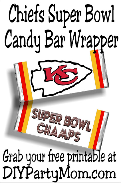 Kick off your Super Bowl party with this free printable Kansas City Chiefs candy bar wrapper.  It's so simple to print and cut that you'll be cheering on the game while enjoying yummy chocolate in no time at all.