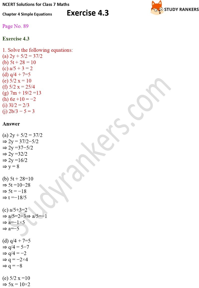 NCERT Solutions for Class 7 Maths Ch 4 Simple Equations Exercise 4.3 1