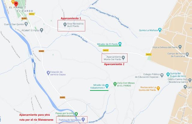 mapa de aparcamientos Monte de El Pardo