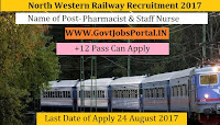 North Western Railway Recruitment 2017– Pharmacist & Staff Nurse