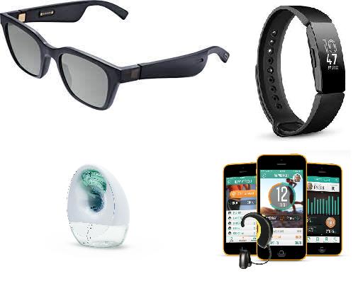 Bose sunglasses, Fitbit Inspire, Elvie breast pump, Lumafit coach