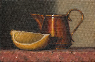 Still life oil painting of a lemon quarter beside a small copper jug.