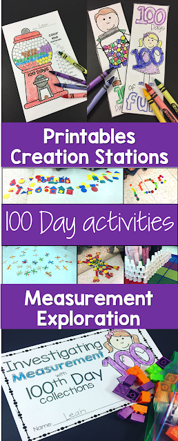 This 100th Day of School will be a blast.  Start with some exploration stations.  Next explore measurement with an investigation booklet, create a hat, make bookmarks and complete some fun printables to complete the day.