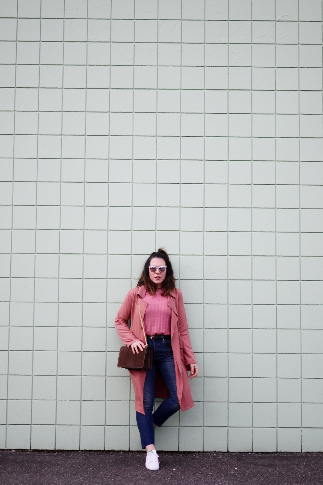 Rose duster jacket forever 21 outfit vancouver fashion blogger AGNEEL sophie bag brown suede
