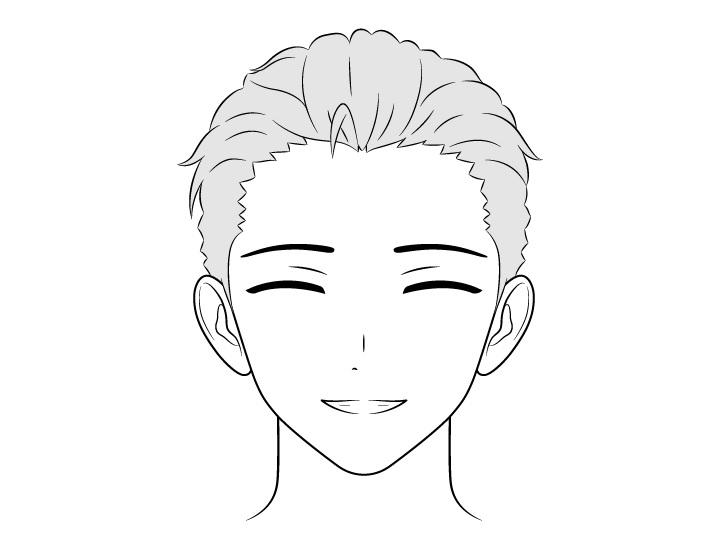Anime pria kaya menggambar wajah tersenyum