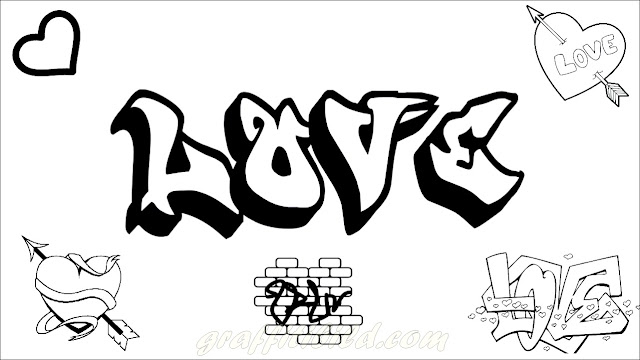 Ausmalbilder Graffiti Love, graffiti, coloring pages,