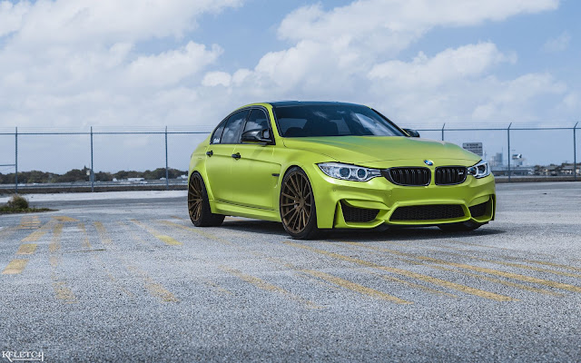 2017 BMW M3 in Satin Lime Green with Velos Wheels - #BMW #M3 #Velos #Wheels #tuning
