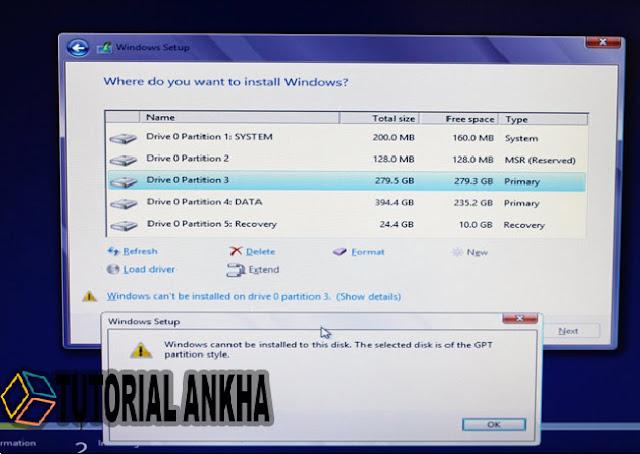 Cara Mengatasi Masalah Partisi GPT yang tidak dapat menginstal Windows