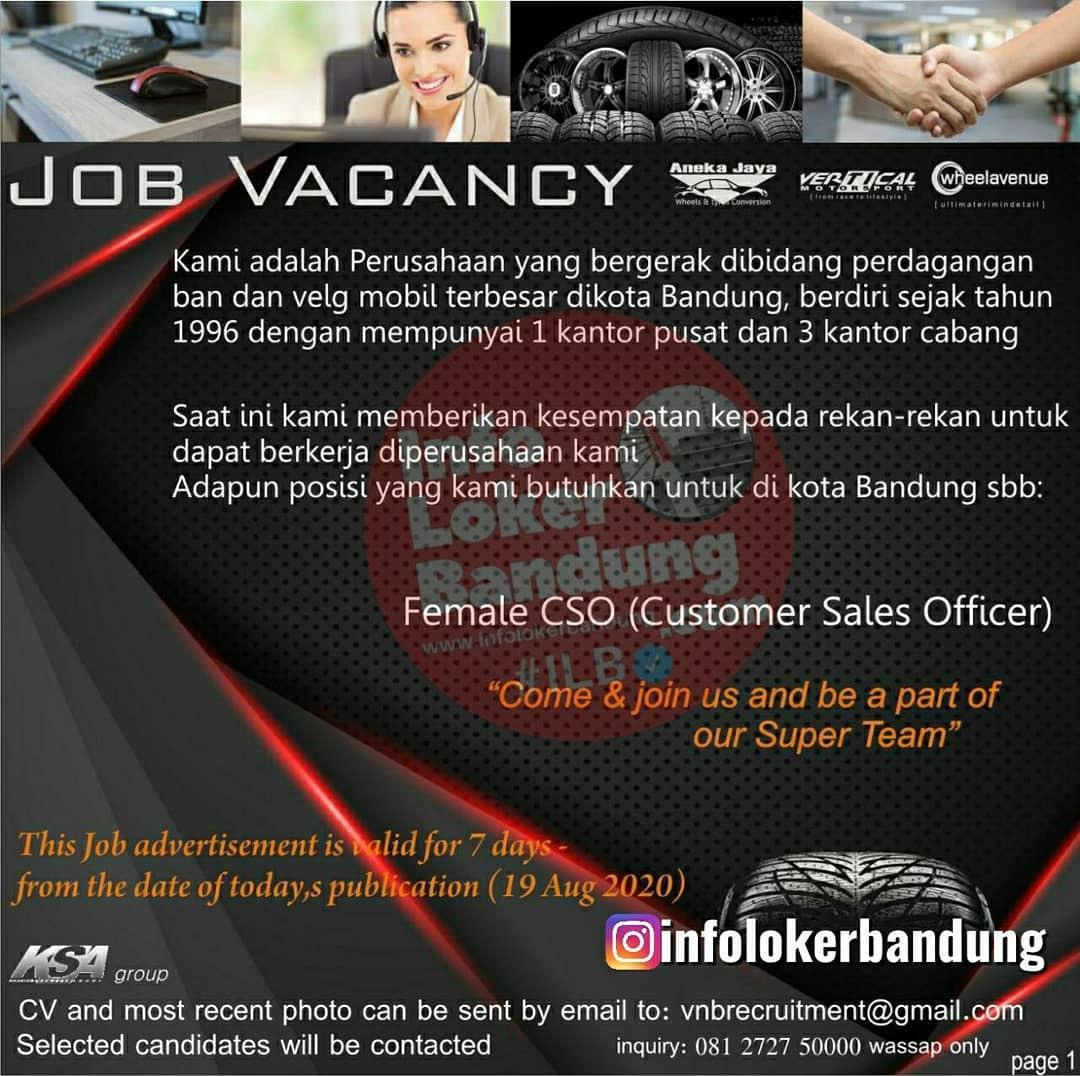 Lowongan Kerja CSO (Customers Sales Officers) Vertical Bandung Agustus 2020