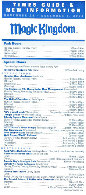 Magic Kingdom Times Guide November 28-December 4 2004