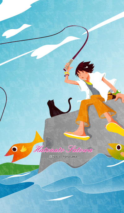 Cat and fish and boy [sea fishing]+