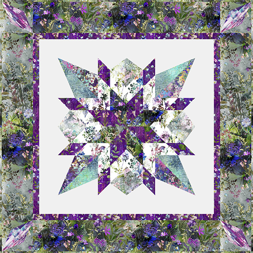 Star Gazer Quilt Designed by Wendy Sheppard, featuring the Wildwood Way and Malam Batiks collections for RJR Fabrics