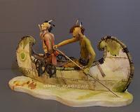 modellino indiani in canoa remi nativi americani acquerello orme magiche