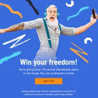 Screenshot of the Audible Win Your Freedom competition banner. An older, bearded gentleman wearing headphones and cheering.