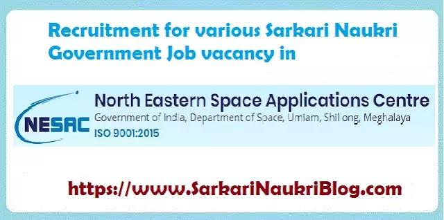 Recruitment in NESAC Meghalaya