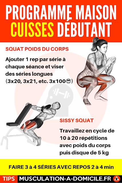 musculation à domicile programme musculation débutant poids du corps et haltère cuisses fessiers quadriceps ischio-jambier