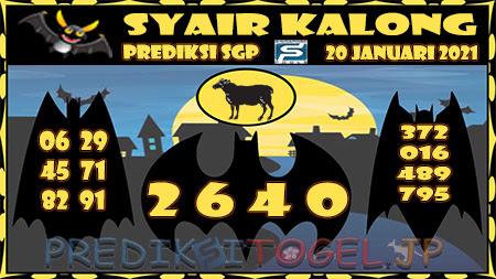 Prediksi Syair Kalong SGP Rabu 20 Januari 2021