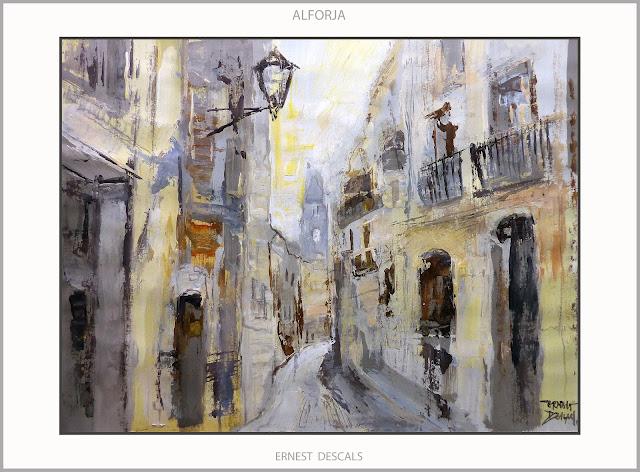 ALFORJA-PINTURA-BAIX CAMP-PAISATGES-POBLES-TARRAGONA-CATALUNYA-ESGLESIA-PINTURES-ARTISTA-PINTOR-ERNEST DESCALS-
