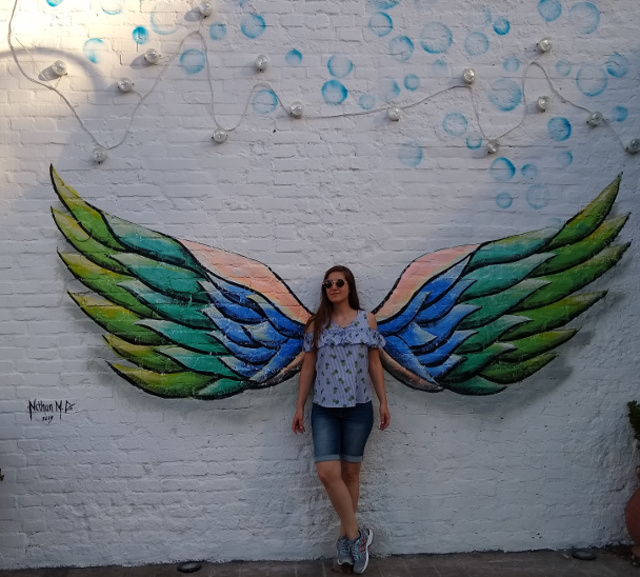 Colorful drawings of wings to take pictures.
