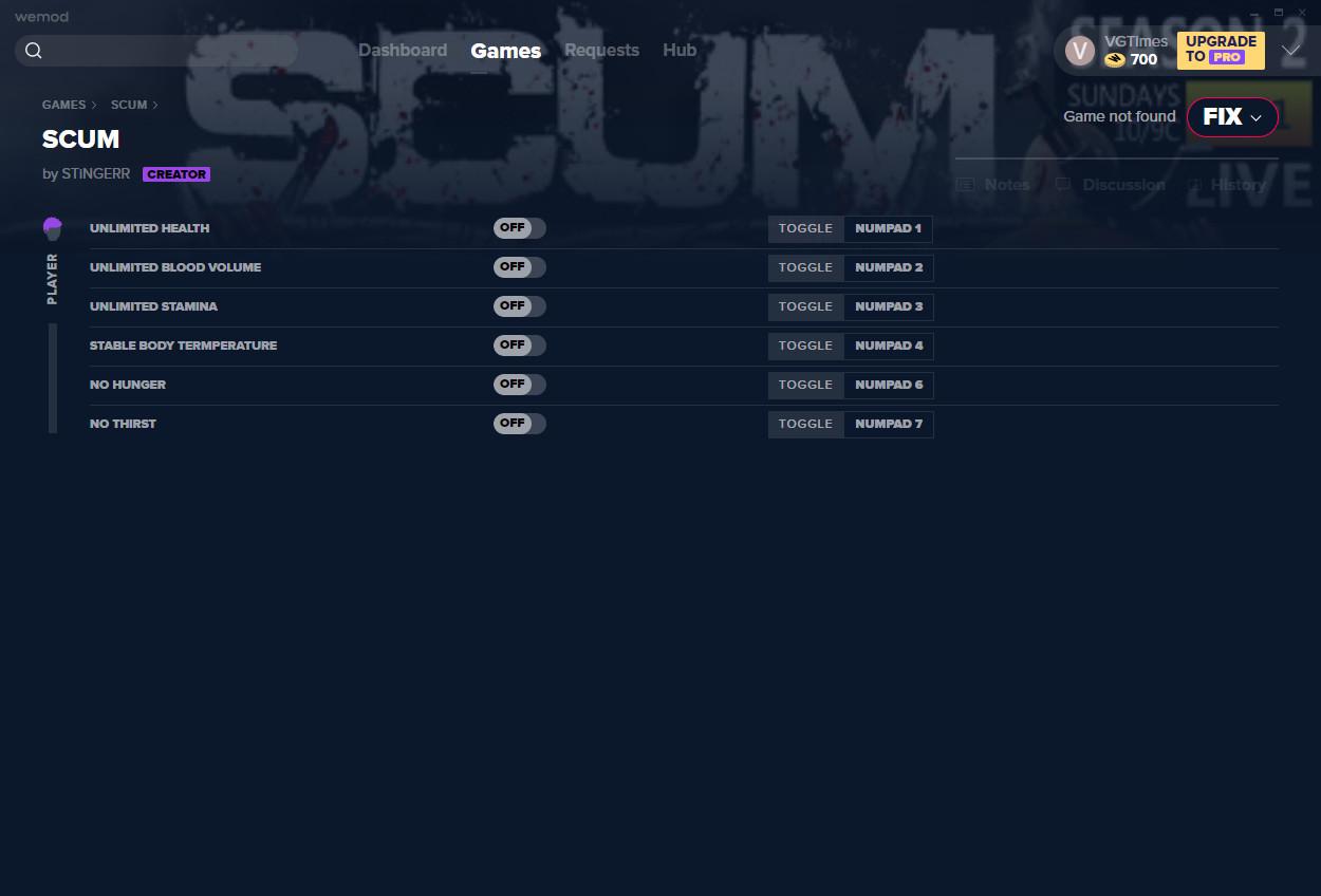 SCUM: Trainer (+6) from 08.11.2020 [WeMod]