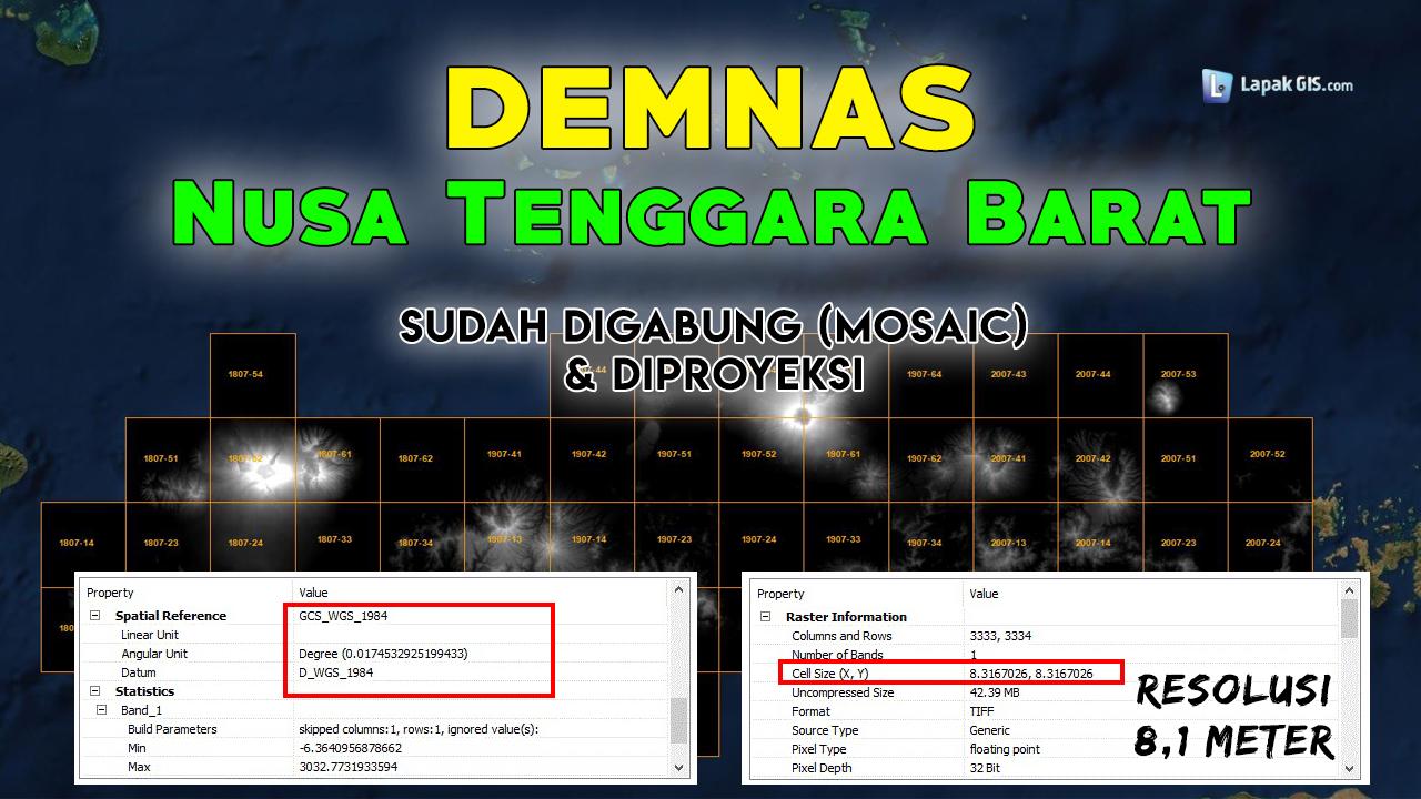 DEM Nasional (DEMNAS) Provinsi Nusa Tenggara Barat (NTB) Terbaru