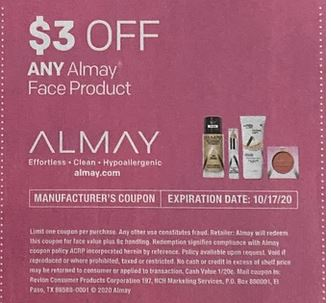 "$3.00/1 Almay Face Product Coupon from ""Smartsource"" insert week of 10/4/20."