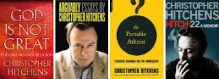 Some of Christopher Hitchens's books (from left): 'God Is Not Great', 'Arguably', 'The Portable Atheist' and 'Hitch-22'