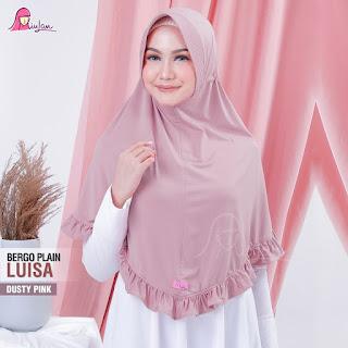 jilbab bergo plain luisa miulan dusty pink