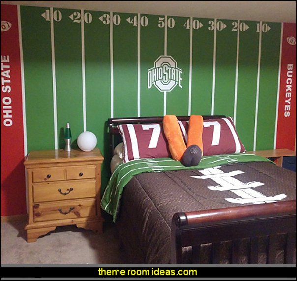 sports football bedroom decorating Football Field Yardline wall Decals sports bedroom decor