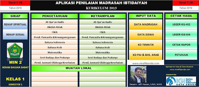 Download Aplikasi Penilaian Madrasah Ibtidaiyah (MI) Semester 1