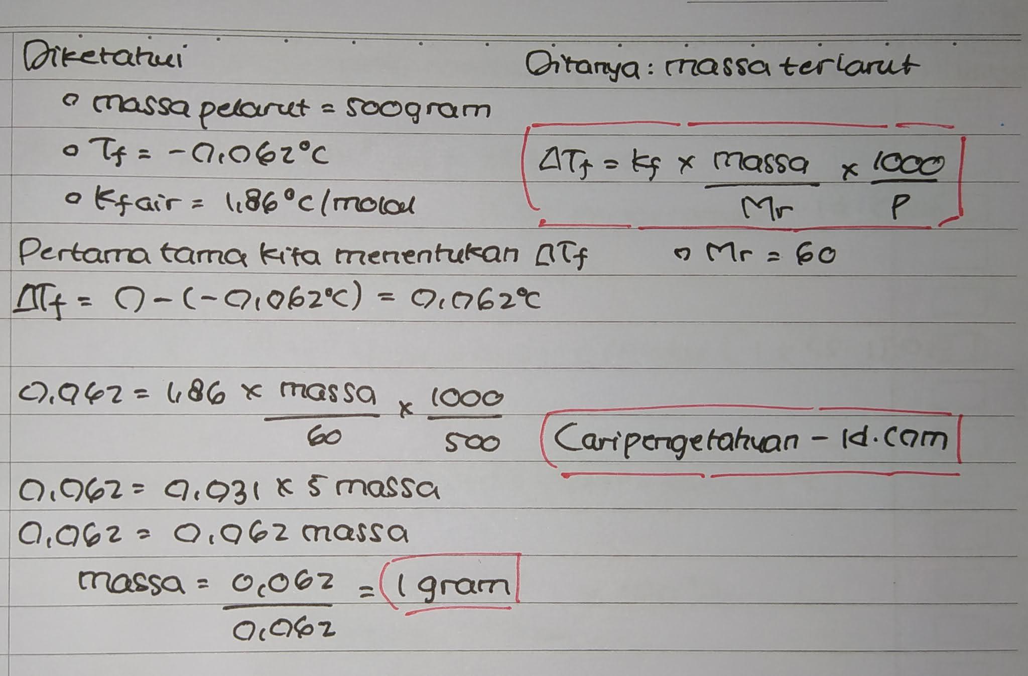 Untuk menurunkan titik beku 500 gram air menjadi -0,062°C (Kf air = 1,86°C/molal) maka jumlah urea (CO(NH2)2) (Ar C = 12, O = 16, N = 14, H = 1) yang harus dilarutkan adalah