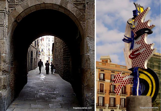 Barcelona: rua do Bairro Gótico e escultura de Roy Lichtenstein na Barceloneta