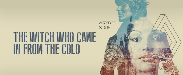 Banner for The Witch Who Came In From the Cold. The title appears on the left, stenciled in grey against a beige background. Beside it, the image of a white woman's face is superimposed over the blue outline of a white man.