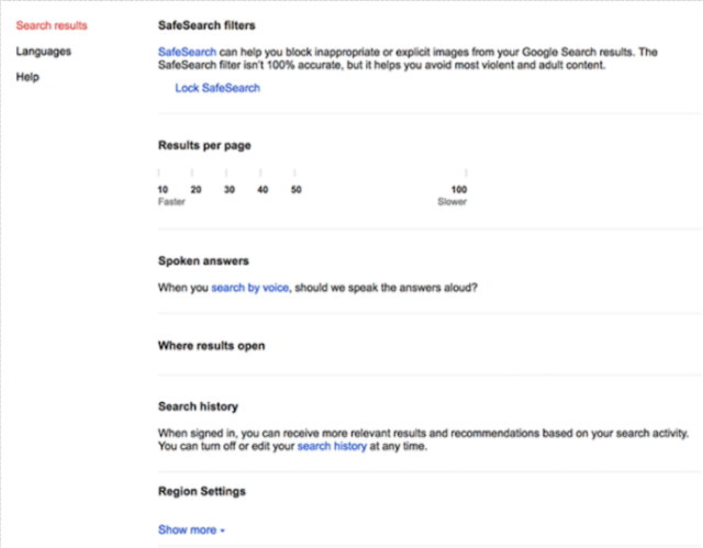 Google before updated-Number of Results Per Page Search Settings Option