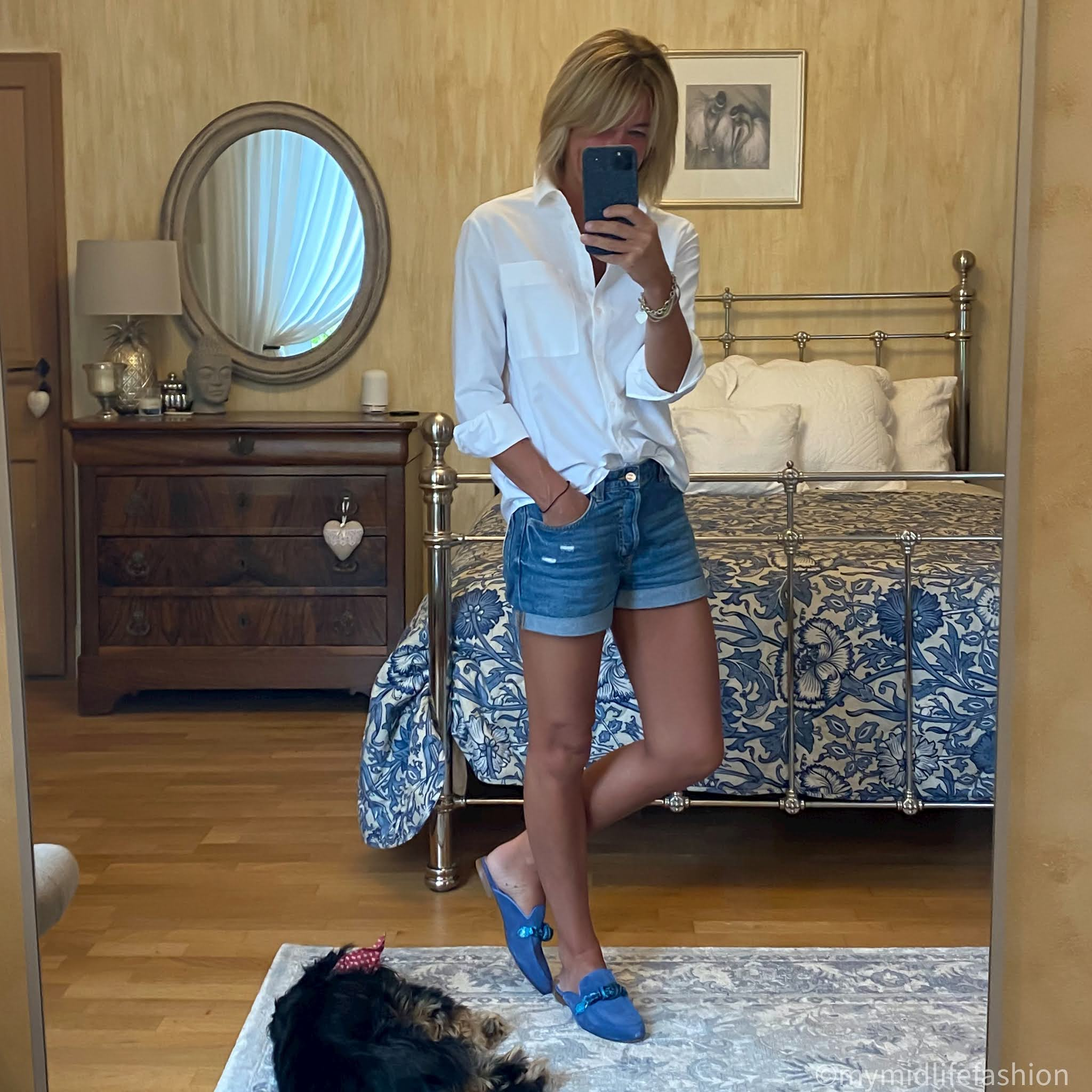 my midlife fashion, rogue Matilda locomotion in cerulean blue, baukjen heather shirt, h and m concious boyfriend denim shorts