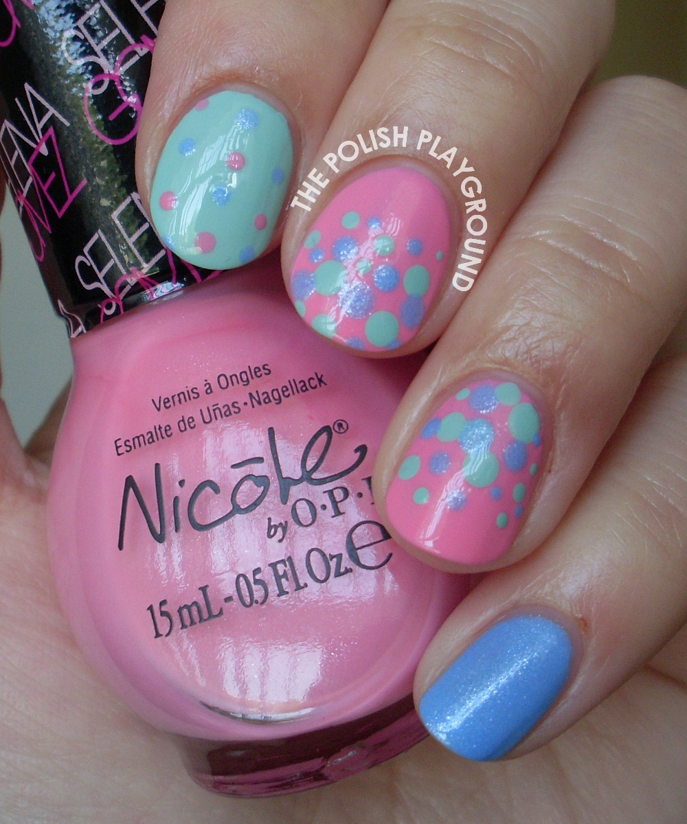 Polka Dot Skittle Nail Art