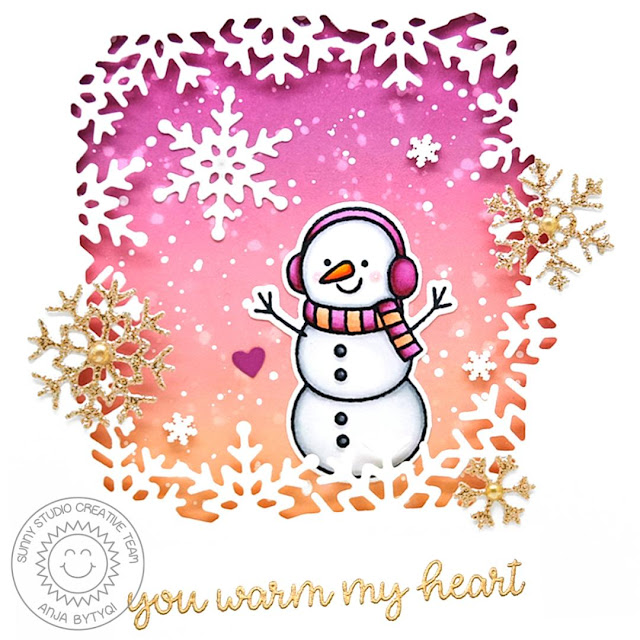 Sunny Studio Stamps: Snowflake Frame Dies Feeling Frosty Winter Themed Card by Anja Bytyqi