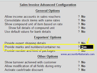 provide marks and numbers or container in tally configuration