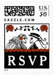 Halloween Wedding Skeletons Custom Postage RSVP Red Roses Horizontal Small Postage