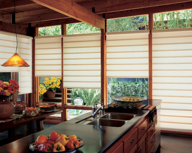 simple window covering ideas with transparent fabric window blind and long dark wood kitchen island
