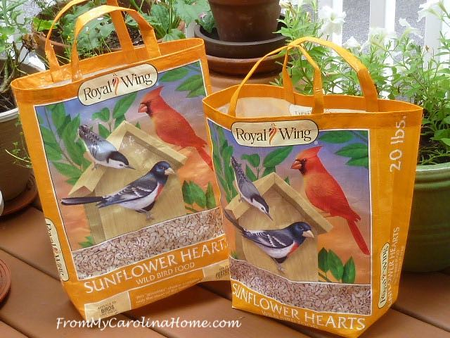 Learn how to make a bag from a bird seed bag. Tutorial by From My Carolina Home