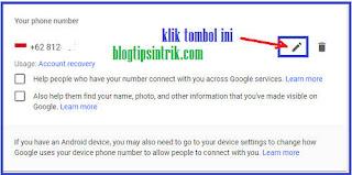 Cara Mengganti edit Nomor Hp pemulihan di Gmail