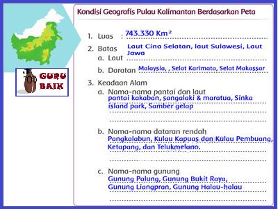 [Kondisi Geografis pulau Kalimantan berdasarkan peta].