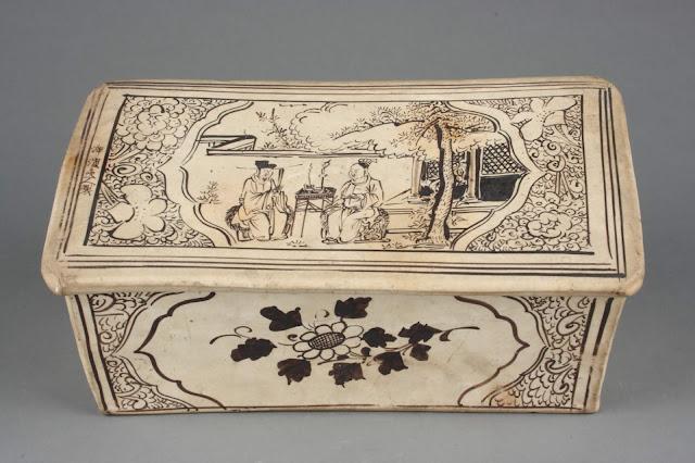 '설야방보' 고사를 그린 베개, 원(元, 1271~1368), 자주요박물관