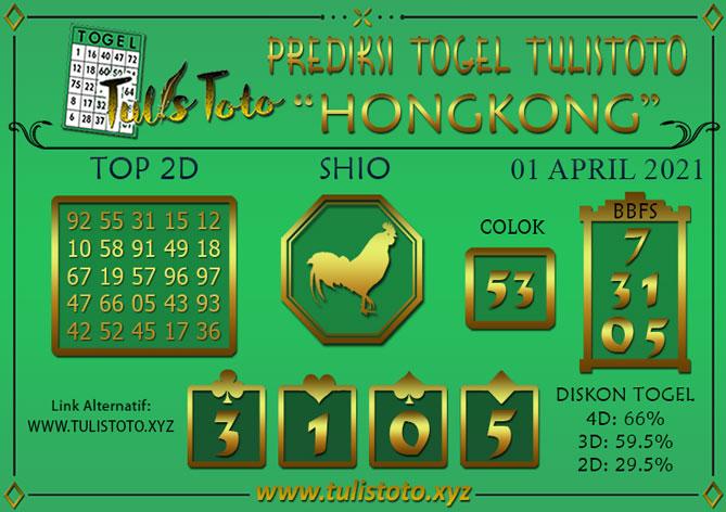 Prediksi Togel HONGKONG TULISTOTO 01 APRIL 2021